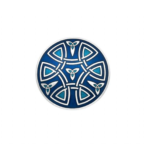Celtic Trinity Coils Brooch Blue Silver Plated Brand New Gift Packaging